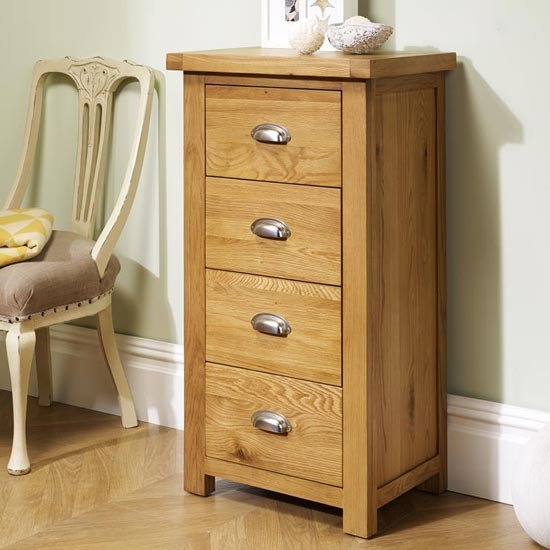 Woburn Wooden Narrow Chest Of Drawers In Oak With 4 Drawers_2