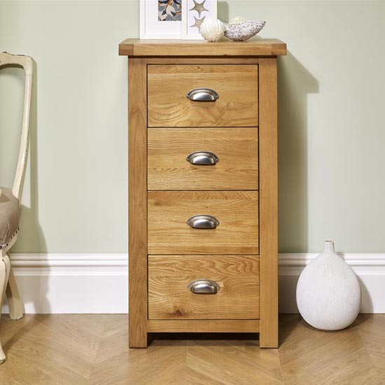 Woburn Wooden Narrow Chest Of Drawers In Oak With 4 Drawers_1