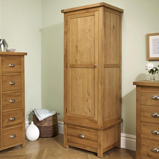 Woburn Wooden Wardrobe In Oak With 1 Door And 1 Drawer
