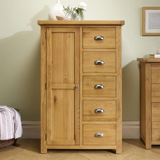 Woburn Wooden Wardrobe In Oak With 1 Door And 5 Drawers