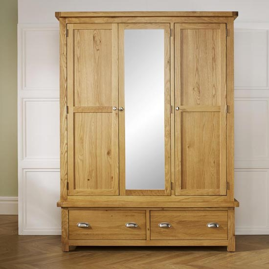 Woburn Wooden Wardrobe In Oak With 3 Doors And 2 Drawers