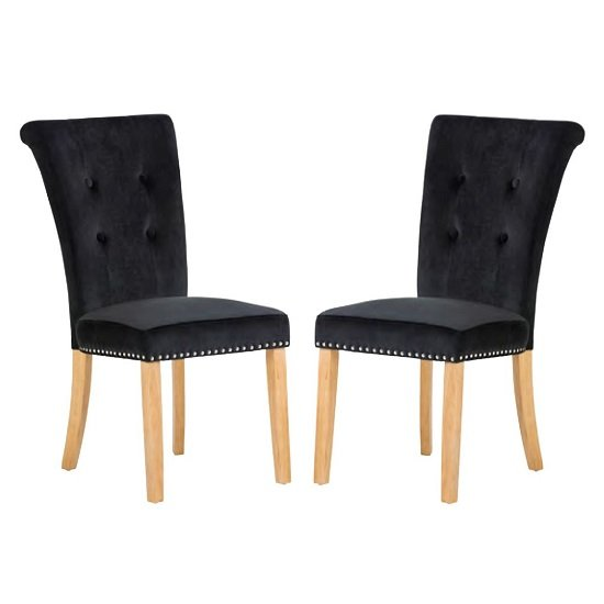 Wodan Velvet Dining Chair In Black With Oak Legs In A Pair