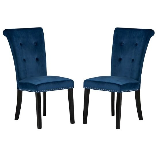 Wodan Velvet Dining Chair In Blue With Black Legs In A Pair