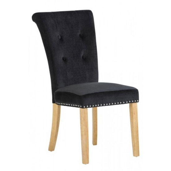 Wodan Velvet Dining Chair In Black With Oak Leg