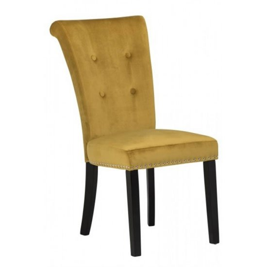 Wodan Velvet Dining Chair In Mustard With Black Leg