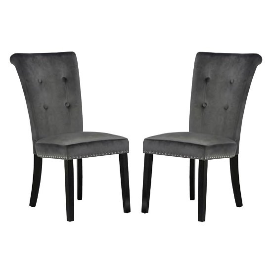 Wodan Velvet Dining Chair In Grey With Black Legs In A Pair