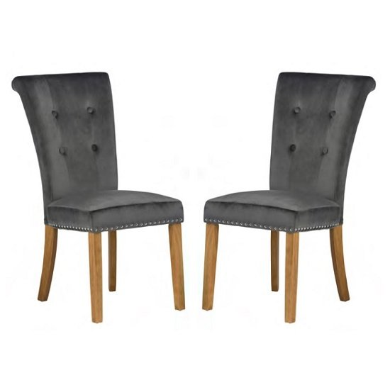 Wodan Velvet Dining Chair In Grey With Oak Legs In A Pair