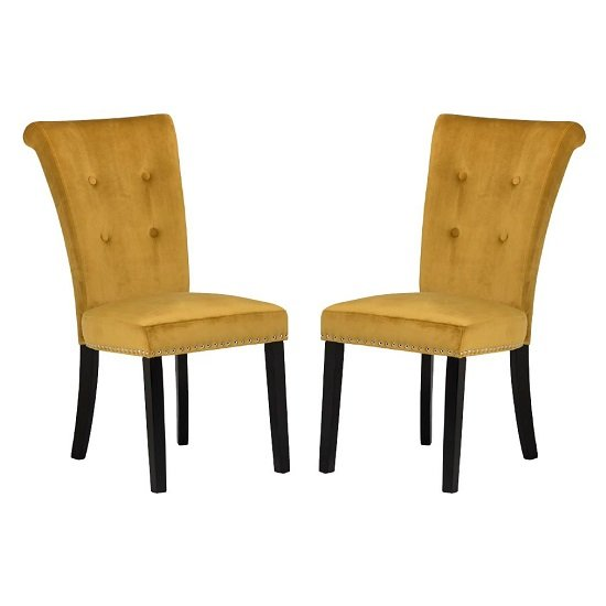 Wodan Velvet Dining Chair In Mustard With Black Legs In A Pair