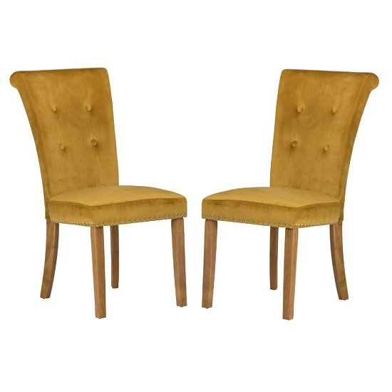 Wodan Velvet Dining Chair In Mustard With Oak Legs In A Pair