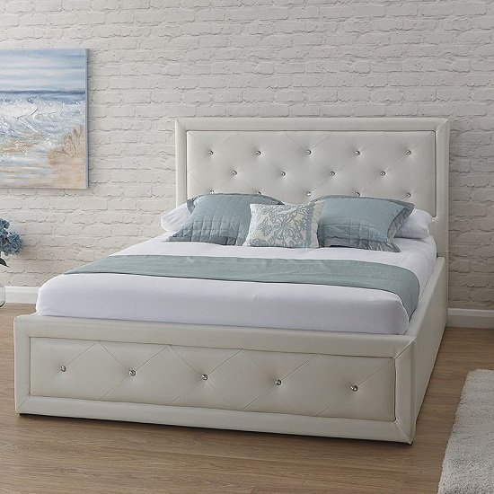 Superb Wolford Faux Leather Ottoman Storage Bed In White Bralicious Painted Fabric Chair Ideas Braliciousco