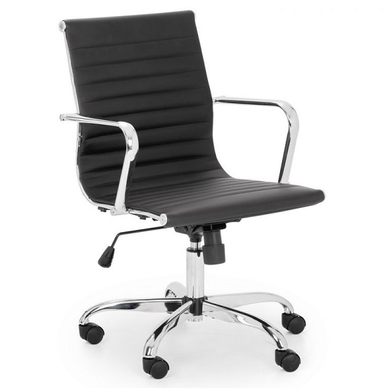 Wollano Faux Leather Office Chair In Black With Chrome Base