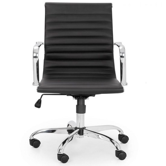 Wollano Faux Leather Office Chair In Black With Chrome Base_2