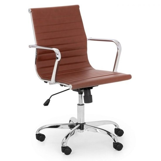 Wollano Faux Leather Office Chair In Brown With Chrome Base
