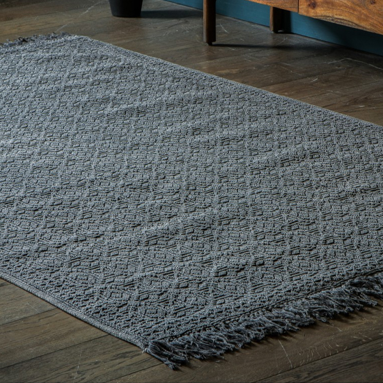 Wonten Fabric Aztec Pattern Rug In Charcoal