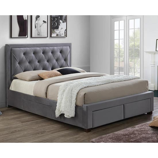 Woodbury Fabric Double Bed In Grey