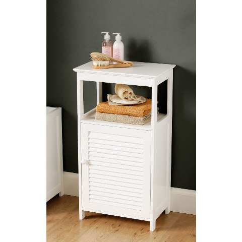 White bathroom floor cabinet with shelf 1600901 3137 for Bathroom floor cabinet