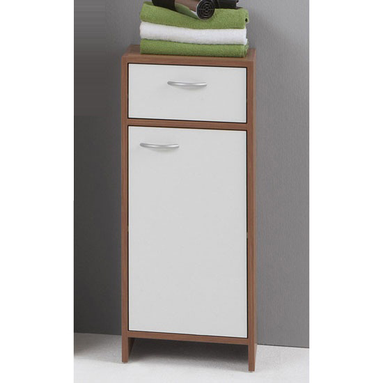 Madrid2 bathroom floor cabinet in plumtree and white with