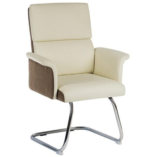 Wooster Visitor Chair In Cream With Cantilever Frame