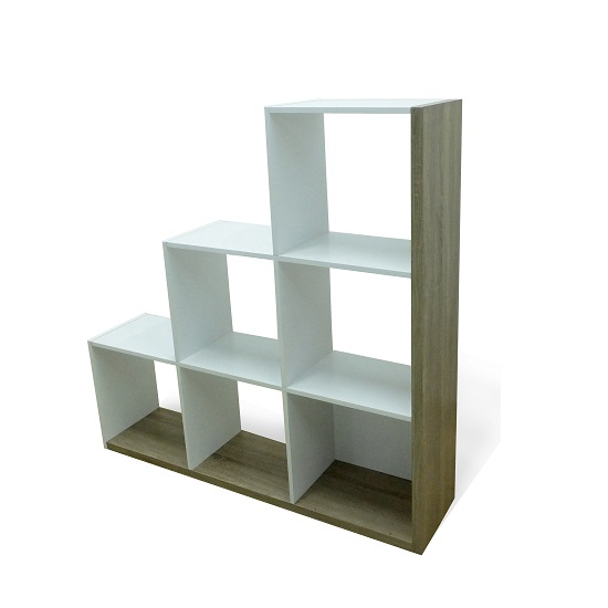 Worcester Shelving Unit In Oak And White With 6 Compartments