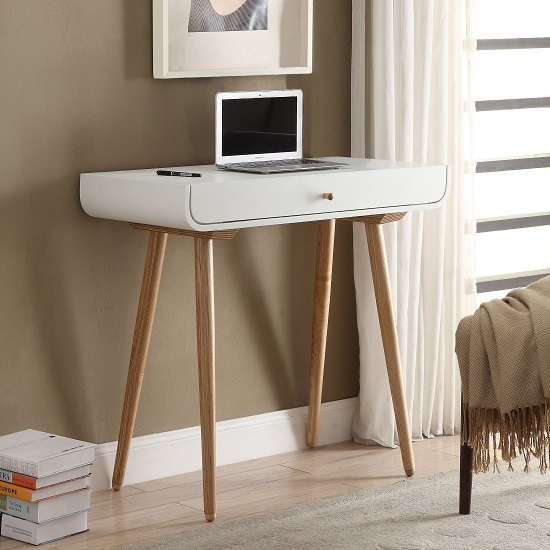 Worcester Laptop Desk In White Ash With 1 Drawer