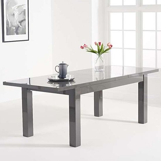 Worrel Wooden Extending Dining Table In Dark Grey High Gloss