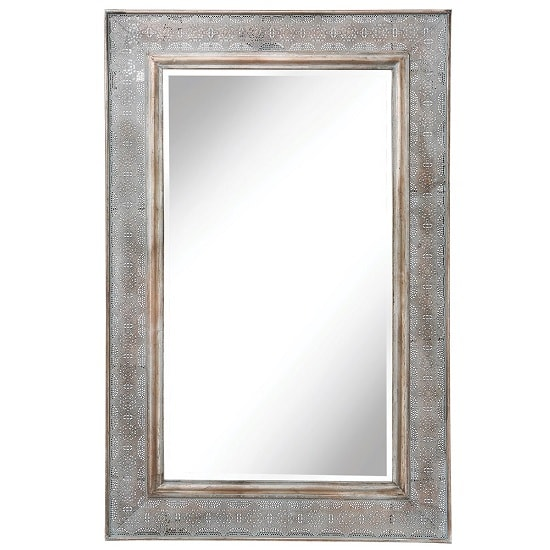 Worthing Wall Mirror Rectangular In Silver And Blue