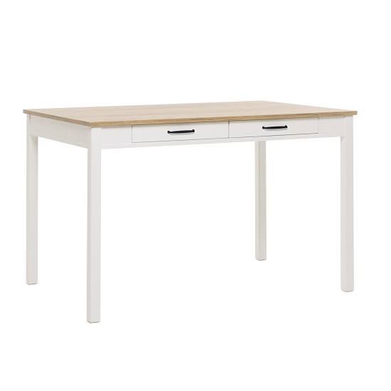 Wrexham Wooden Dining Table In Oak And White With 2 Drawers_1