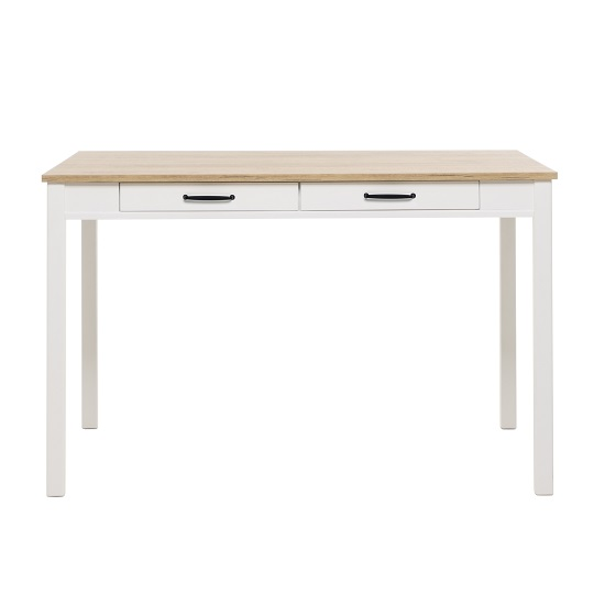 Wrexham Wooden Dining Table In Oak And White With 2 Drawers_3