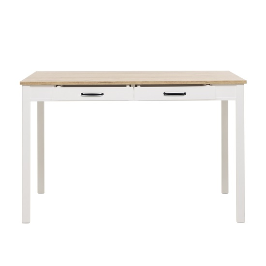 Wrexham Wooden Dining Table In Oak And White With 2 Drawers_5