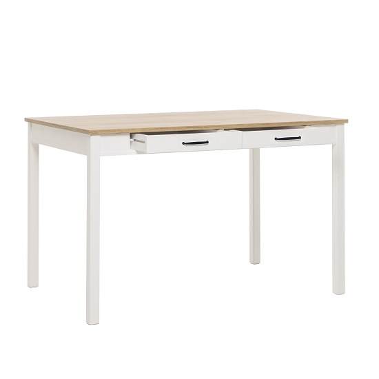 Wrexham Wooden Dining Table In Oak And White With 2 Drawers_2