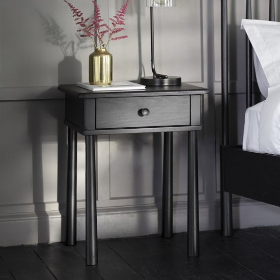 Wycombe Wooden Bedside Cabinet In Black With 1 Drawer