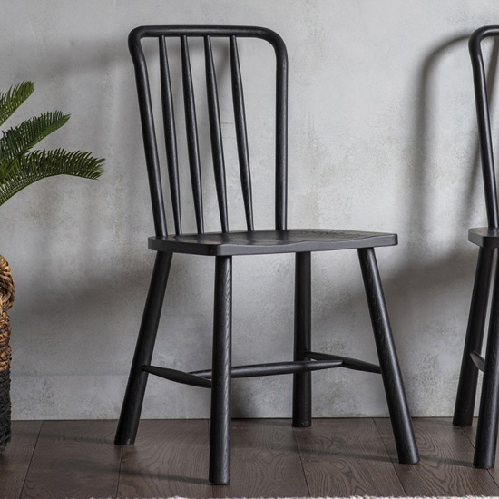 Wycombe Black Wooden Dining Chairs In Pair_2