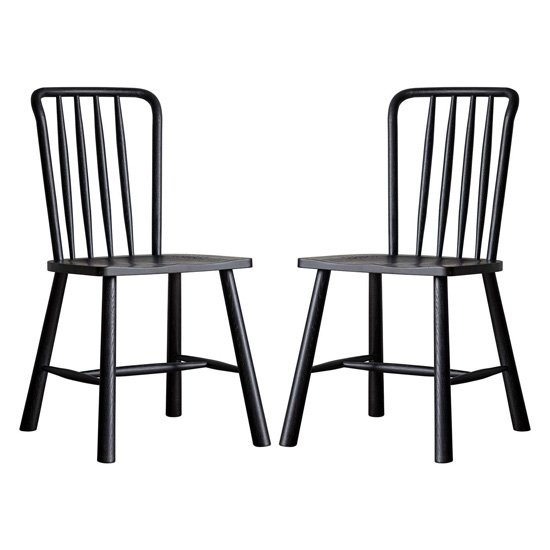 Wycombe Black Wooden Dining Chairs In Pair_1