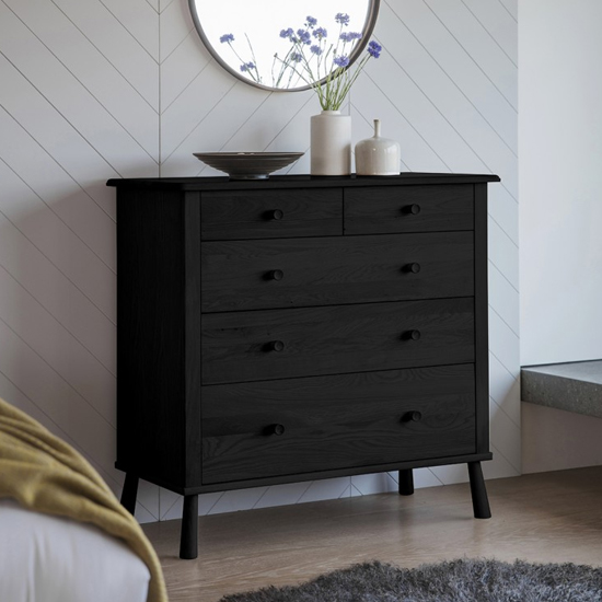 Wycombe Wooden Chest Of Drawers In Black With 5 Drawers