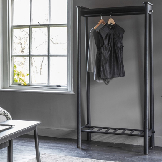 Wycombe Open Wooden Coat Rack In Black