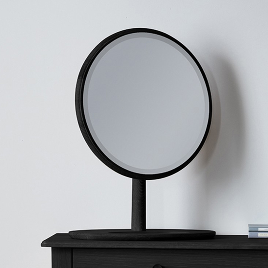 Wycombe Round Dressing Mirror In Black_2