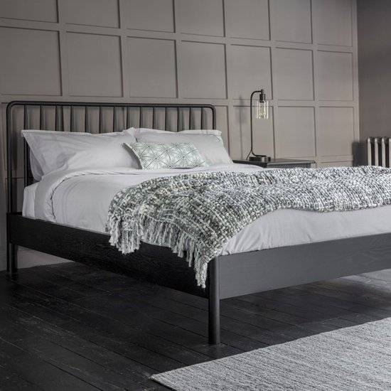 Wycombe Wooden Spindle King Size Bed In Black