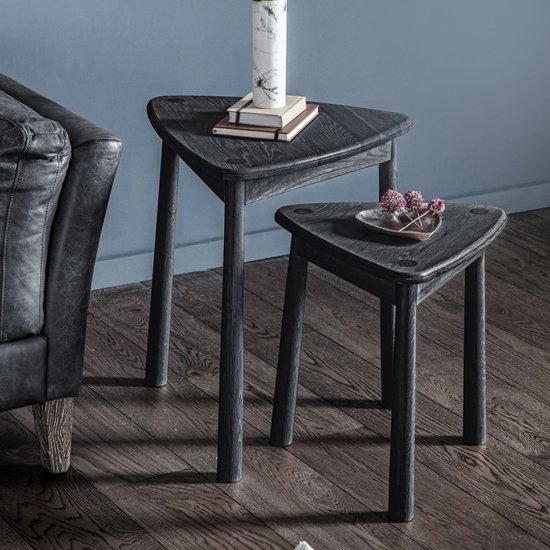 Wycombe Wooden Set Of 2 Nesting Tables In Black