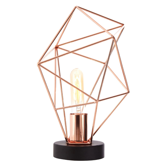 Wyrato Asymmetrical Frame Table Lamp In Copper With Black Base