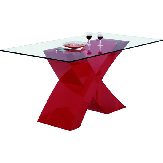 X Clear Glass Dining Table in Red High Gloss Base