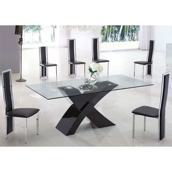 X glass dining table in black high gloss base and 4 chairs for Black dining sets with 4 chairs