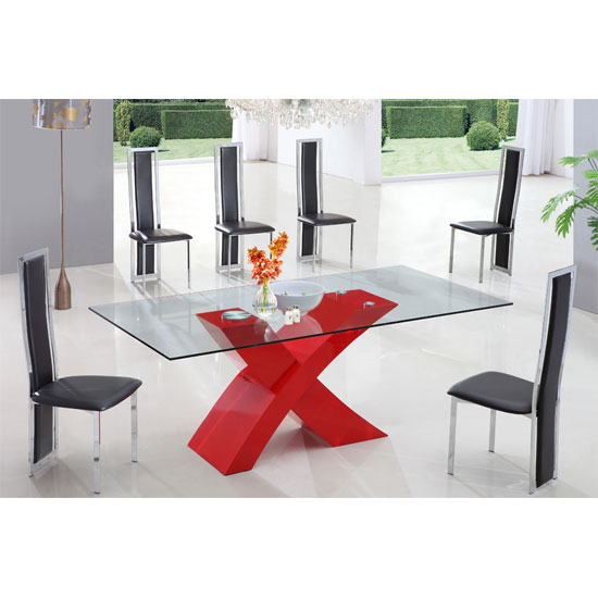 X glass dining table in high gloss red with 6 dining chairs for Red dining room table and chairs