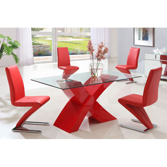 X glass dining table in red high gloss base and 6 z chairs for Red dining room table and chairs