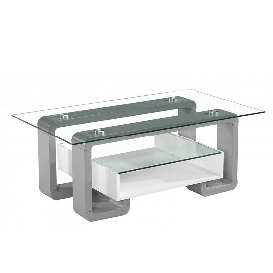 Xander Glass Coffee Table With White And Grey High Gloss