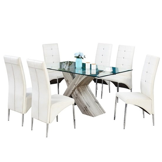 Xanti Glass Dining Table In Grey Oak Effect 6 Vesta White Chairs_2