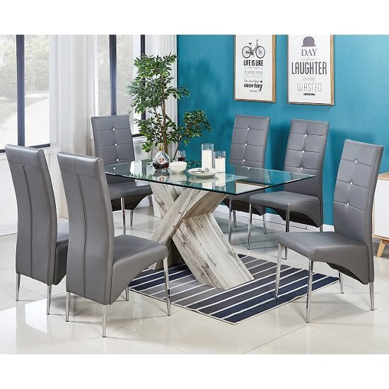 Xanti Glass Dining Table In Grey Oak Effect With 6 Vesta Chairs