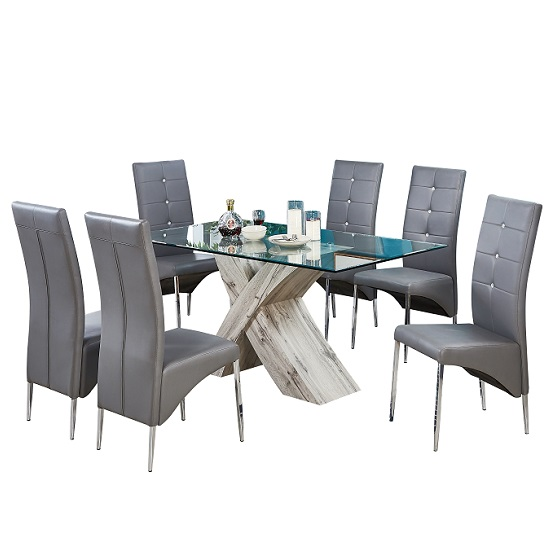 Xanti Glass Dining Table In Grey Oak Effect With 6 Vesta Chairs_2