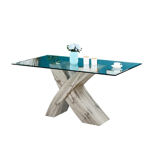 Xanti Glass X Base Dining Table In Clear With Grey Oak Effect_2