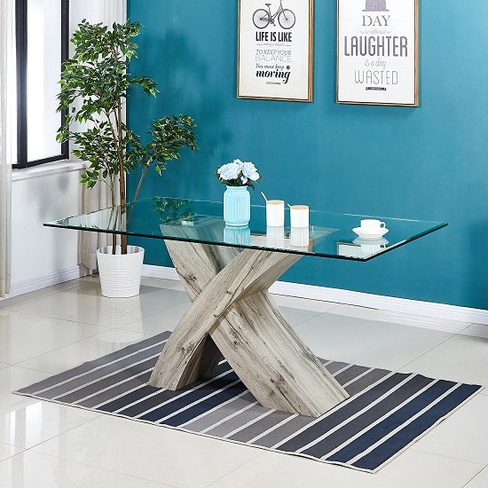 View Xanti glass x base dining table in clear with grey oak effect