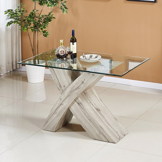 Xanti Clear Glass X Base Dining Table Small In Grey Oak Effect
